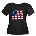 Tax Soda! Women's Plus Size Scoop Neck Dark T-Shir