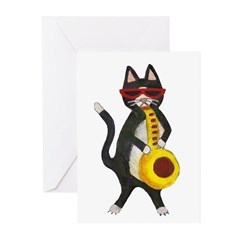 Cat and Saxophone Greeting Cards (Pk of 10)