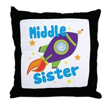 Middle Sister Rocket Throw Pillow