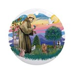 St Francis #2/ Yorkie #7 Ornament (Round)