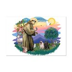 St Francis #2/ Pugs (blk&f) Mini Poster Print
