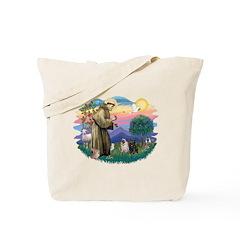 St Francis #2/ Pugs (blk&f) Tote Bag
