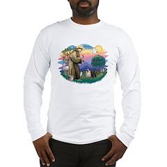 St Francis #2/ Pugs (blk&f) Long Sleeve T-Shirt