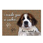 St Bernard Puppy Cookie Postcards (Package of 8)
