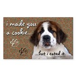 St Bernard Puppy Cookie Sticker (Rectangle)