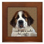 St Bernard Puppy Cookie Framed Tile