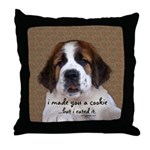 St Bernard Puppy Cookie Throw Pillow