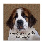 St Bernard Puppy Cookie Tile Coaster