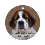 St Bernard Puppy Cookie Ornament (Round)