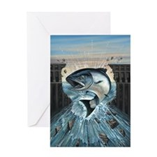 Salmon Breaks through Dam Greeting Card