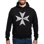 Silver Maltese Cross Hoodie (dark)