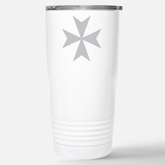 Silver Maltese Cross Stainless Steel Travel Mug