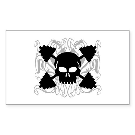 Weightlifting Skull Sticker (Rectangle)