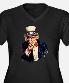 Uncle Sam Women's Plus Size V-Neck Dark T-Shirt