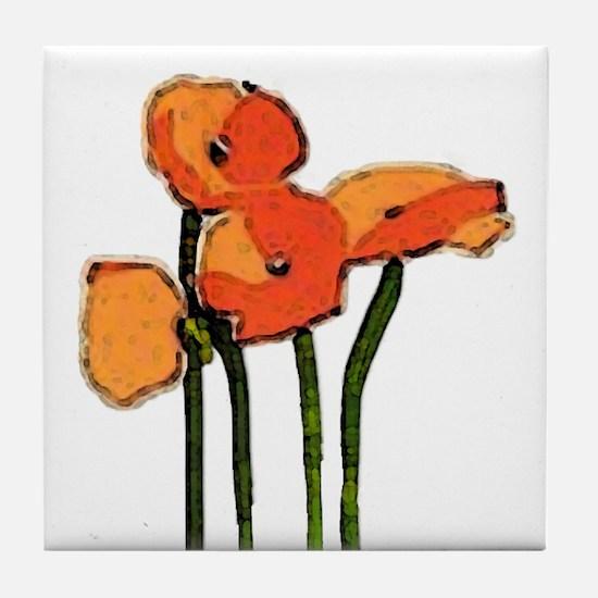 poppies 1 Tile Coaster