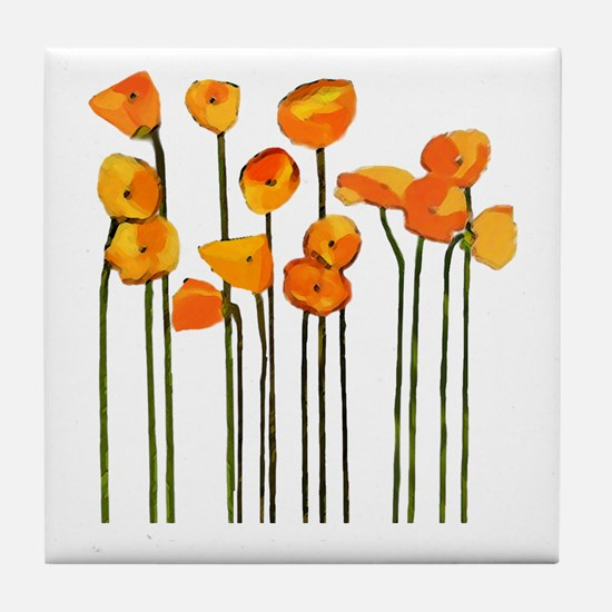 poppies (design 2) Tile Coaster