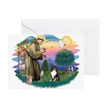 St Francis #2/ Sheltie (tri) Greeting Cards (Pk of