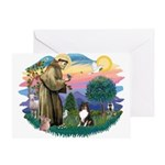 St Francis #2/ Sheltie (tri) Greeting Card