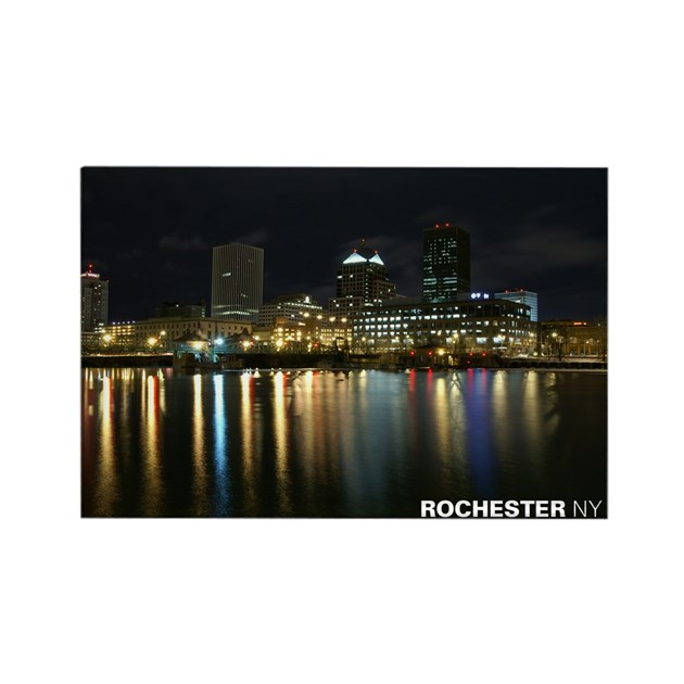 Rochester NY Skyline Rectangle Magnet By Rocdesign
