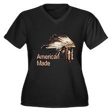 Cute American indian Women's Plus Size V-Neck Dark T-Shirt