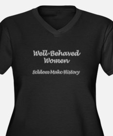 Cute Well behaved Women's Plus Size V-Neck Dark T-Shirt