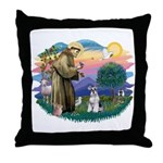 St Francis #2/ Schnauzer #2 Throw Pillow