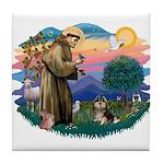 St Francis #2/ Pomeranian (T) Tile Coaster