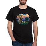 St Francis #2/ Pomeranian (T) Dark T-Shirt