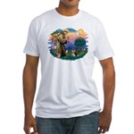 St Francis #2/ Pomeranian (T) Fitted T-Shirt