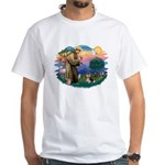 St Francis #2/ Pomeranian (T) White T-Shirt