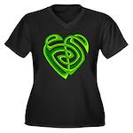 Wde Heartknot Women's Plus Size V-Neck Dark T-Shir