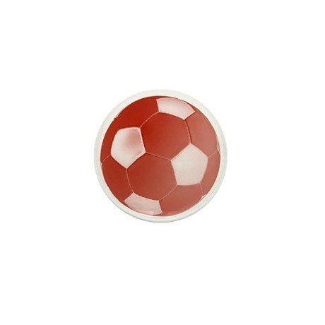 Red Soccer Ball Mini Button (10 pack)