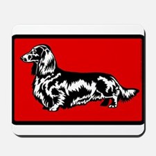 Retro Longhaired Dachshund Mousepad