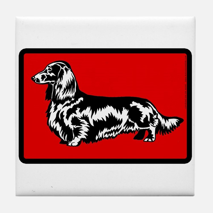 Retro Longhaired Dachshund Tile Coaster