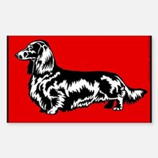 Retro Longhaired Dachshund Rectangle Decal