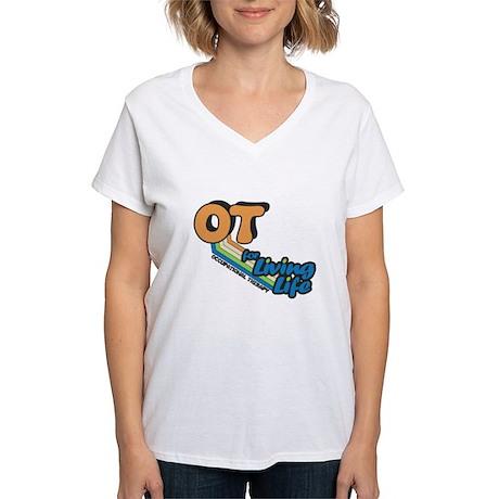 OT For Living Life Women's V-Neck T-Shirt