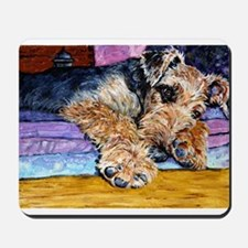 Beautiful sleepy Airedale Terrier Mousepad