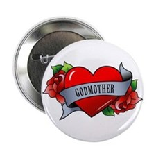 "Heart & Rose - Godmother 2.25"" Button"