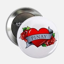 """Heart & Rose - Pinay 2.25"""" Button"""