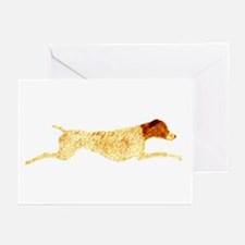 Liver & White Leaping GSP Greeting Cards (Package