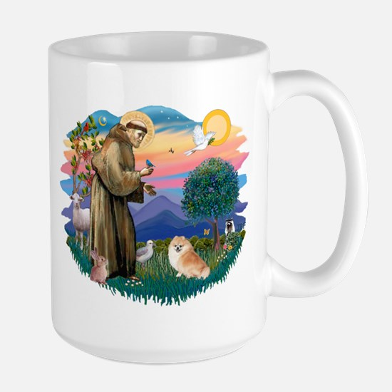St Francis #2/ Pomeranian (r) Large Mug