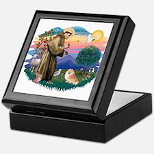 St Francis #2/ Pomeranian (r) Keepsake Box