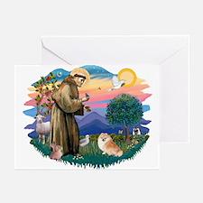 St Francis #2/ Pomeranian (r) Greeting Cards (Pk o