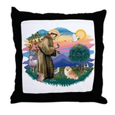 St Francis #2/ Pomeranian (r) Throw Pillow