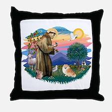 St Francis #2/ Pomeranian (r) Throw Pillow