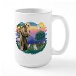 St Francis #2/ Pomeranian (s&w) Large Mug