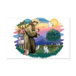 St Francis #2/ Pomeranian (s&w) Mini Poster Print