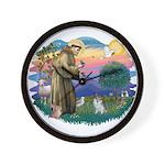 St Francis #2/ Pomeranian (s&w) Wall Clock