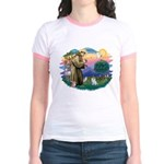 St Francis #2/ Pomeranian (s&w) Jr. Ringer T-Shirt