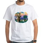 St Francis #2/ Pomeranian (s&w) White T-Shirt